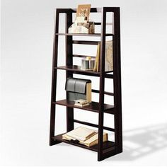 ladder shelf | Espresso Finish 4-tier Ladder Bookcase Display Shelf