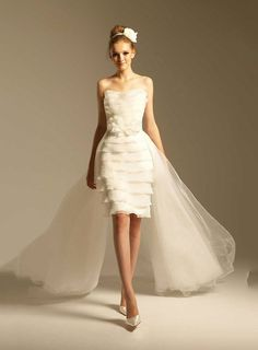 Elegant Knee-Length Mermaid Scoop-Neckline IvoryTulle Wedding Dress Ankara