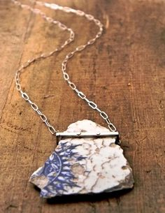 Ceramic necklace $129--but I could wire wrap a piece of ceramic for much less! #CondaDouglas
