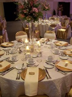 Wedding, Reception, Pink, Centerpiece, Gold, Ivory, Linens, Charger