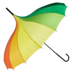 £16.95 - Pagoda Rainbow Umbrella. Don't let the rain put a dampener on your spirits with this rainbow striped pagoda umbrella. This stunning umbrella comes in vibrant multi colours and features an impressive pagoda canopy design, with a sturdy steel back handle and frame, quality tips and finishes and a classic crook handle for easy carrying.