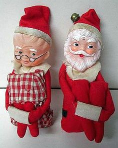 Unusual Old Knee Hugger Santa Mrs Claus Figures Vintage Christmas Ornaments, Retro Christmas, Vintage Holiday, Christmas Classics, Christmas Decorations, Christmas Hearts, Christmas Past, Christmas Holidays, Xmas Elf