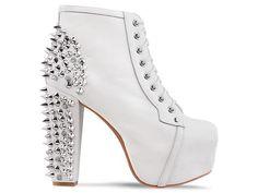 #lita #jeffrey campbell #Heels #boots #Spikes #studded #White