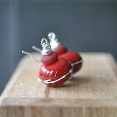 Drizzled Red Lampwork Glass Earrings Cherry Red Drop by bstrung, $28.00