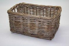 Grey Rattan Wicker Storage Basket (S) 34x21x16cm
