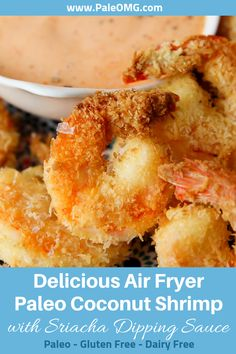Air Fryer Coconut Shrimp with Sriracha Dipping Sauce Are you looking for an easy air fryer recipe? This air fryer paleo coconut shrimp recipe is absolutely AMAZING and healthy! Oh how about a delicious paleo Cheap Clean Eating, Clean Eating Snacks, Eating Paleo, Paleo Recipes, Gourmet Recipes, Air Fryer Recipes Paleo, Paleo Ideas, Coconut Recipes, Paleo Coconut Shrimp