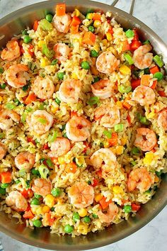 Easy Shrimp Fried Rice This Shrimp Fried Rice Recipe is the fastest and easiest takeout dinner you can make at home! You only need shrimp, leftover rice, frozen veggies, soy sauce and 15 minutes to turn it into delicious dinner. Easy Shrimp Fried Rice Recipe, Shrimp And Rice Recipes, Shrimp Recipes For Dinner, Shrimp Dishes, Rice Dishes, Seafood Recipes, Healthy Dinner Recipes, Fried Shrimp, Frozen Shrimp Recipes