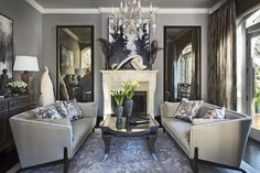 A glamorous living room in Northern California by celebrity and interior designer, Jeff Andrews. Featuring Ebanista's rock crystal Bardot Chandelier. L Shaped Living Room, My Living Room, Home Interior, Interior Design Living Room, Living Room Designs, Living Room Furniture, Living Room Decor, Scandinavian Interior, Interior Design Images