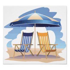 Blue & Yellow Striped Beach Chairs & Umbrella Poster
