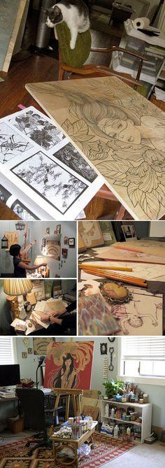 Audrey Kawasaki& Studio www. Home Art Studios, Art Studio At Home, Artist Studios, Audrey Kawasaki, Painting Studio, Artist Painting, Artist Chair, Artist Workspace, Atelier D Art