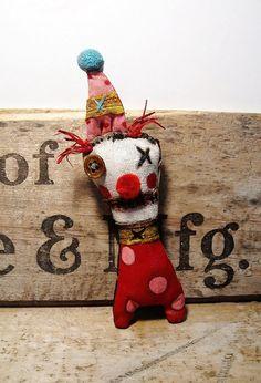 Handmade Art Doll Peanut the Clown by JunkerJane