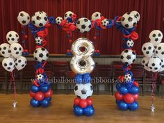 Football party balloon arch in team colours