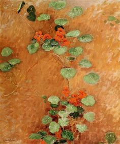Gustave Caillebotte:  Nasturtiums (1892) One of my favorite Impressionist painters, although I was in my 20's when I first saw his work. This is so lovely & beautifully composed.