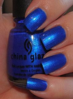 China Glaze Frostbite is a vibrant medium blue shimmer with a light flash