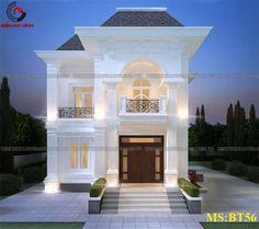 Nhà 2 Classic House Design, House Front Design, Dream Home Design, Home Design Plans, Modern House Design, House Plans Mansion, Duplex House Plans, Small House Exteriors, Dream House Exterior