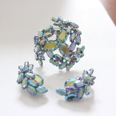 FS Vintage Signed Sherman Blue AB Earrings Brooch Set by Epoques