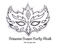 Printable princess dance party mask cutouts coloring in mask - Printable Coloring Pages For Kids by tunmunda