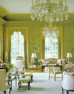 The Garden Room at Winfield House, the U.S. Ambassador's residence in London which was decorated in 1969 by William Haines in a chinoiserie style. The room features a Rococo carved chimneypiece and Chinese wallpaper taken from Townley Castle in Ireland.
