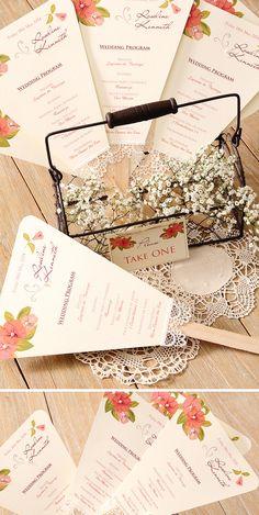 Programa de boda: estilo romántico para una boda en el campo. Azulsahara