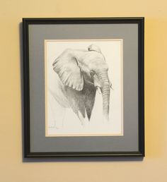 ARTFINDER: African Elephant sketch by Karl Hamilton-Cox - A drawing of an African Elephant that comes double mounted and framed with non-reflective glass ready to wall hang. The drawing area is the size quo. Graphite Drawings, Drawing Sketches, My Drawings, Sketching, Drawing Tips, Drawing Ideas, Elephant Sketch, Designs To Draw, Drawing Designs