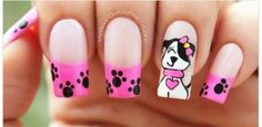 Have a look at these creative and unique nail art designs of this year and get them done on your nails to give a stylish look to your hand. Animal Nail Designs, Cute Nail Designs, Cute Nails, Pretty Nails, Unicorn Nail Art, Gel Nagel Design, Nails For Kids, Dog Nails, Best Acrylic Nails