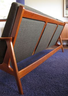 Restored three seater lounge with original foam and fabric. The back looks so fantastic. Perfect for open plan living. Mid-century Interior, Interior Design Living Room, Danish Furniture, Furniture Design, Sofa Set Designs, Mid Century Modern Furniture, Open Plan, Woodworking Plans, Woodworking Classes