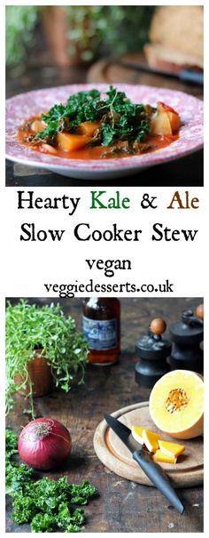 Easy and flavourful  Kale and Ale Slow Cooker Stew | Vegan | Veggie Desserts Blog   This kale and ale slow cooker stew is bursting with flavour from fresh thyme and paprika. The vegan stew is hearty and filled with vegetables including squash.   veggiedesserts.co.uk