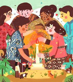 Kathrin Honesta on Behance Book Illustration, Character Illustration, Graphic Design Illustration, Digital Illustration, Indonesian Art, Indonesian Kebaya, Batik Art, Presentation Design Template, Mural Art