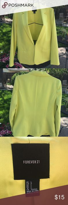 Sport Jacket Forever 21 lime green sport jacket. Size large in good condition. Forever 21 Jackets & Coats Blazers
