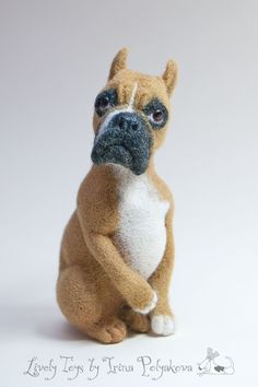 «Canis Sapiens». Boxer. Felted sculpture by Irina Polyakova. Made to order, has a real prototype. Glass eyes. The height is 14 cm #felting #art #needle_felting #boxer #dog #toy #handcraft #hand_craft #cute #sculpture
