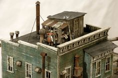 On rooftop. By Dave Revelia. #Miniature_house #diorama - Railroad Line Forums