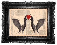 Dancing bats- ORIGINAL ARTWORK  bat art print page book Mixed Media -HAND Painted, print on  vintage magazine