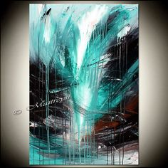 Turquoise Modern Abstract Painting Oil Original Contemporary Teal Fine Art on Canvas by Maitreyii