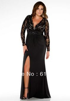 plus size dresses for special occasions | Wholesale – 2013 Plus Size Special Occasion Dresses Black V Neck ...