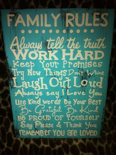 Hand crafted Family Rules sign. Turquoise & off white. by lindsitaylor, $35.00