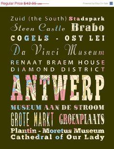 Antwerp, Belgium Typography Poster