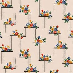Authentic wallpaper patterns from the carefully reproduced and digitally-printed. All designs can be customized by color, scale, and material to fit your needs. Pattern Wallpaper, All Design, Order Prints, 1930s, Diner Kitchen, Digital Prints, Custom Design, Color, Flowers