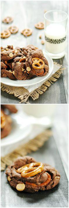Peanut Butter Pretzel Chocolate Cookies   www.somethingswanky.com