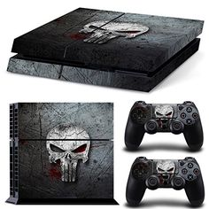Skinia PS4 Console Designer Skin for Sony PlayStation 4 System plus Two2 Decals for PS4 Dualshock Controller  Punisher Skull -- Learn more by visiting the image link.Note:It is affiliate link to Amazon.