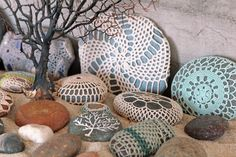 Crocheted and painted rocks- gotta tell my mom to make these...