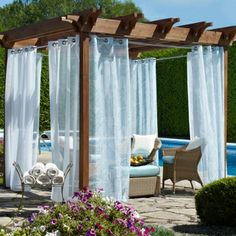 Check Out This Gazebo Featuring The Biscayne Sheer Outdoor Grommet Top Curtain Panel Versatile