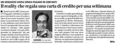 22/07/2011 - Il Giornale - UN GENOVESE VIVRA' SENZA PAGARE IN CONTANTI