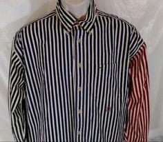 Vtg TOMMY HILFIGER Shirt Men Size L Button Up Blue Red Green Striped Long Slv #TommyHilfiger #ButtonFront