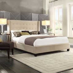 Inspired by Queen Anne style, this modern wingback headboard create a little corner to curl up. The nailhead and tufted button headboard design make this bed more stunning and attractive.  <br><br><ul>...
