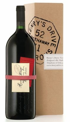 Henry's Drive Vignerons wine packaging -- very sweet and clever Beverage Packaging, Bottle Packaging, Wine Label Design, Bottle Design, Wine Bottle Labels, Wine Bottle Art, Bourbon, Wine Brands, Wine Case
