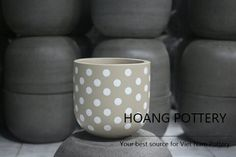 Cute Polka Dots actually have the power to attract customers  - Hand-Painted Cement Pots with adorable patterns  Enjoy your weekend!  #hoangpottery #vietnampottery #vietnam #pottery #polkadots #adorable #cutepot #cute #handpainted #handpaintedpot #handpaintedplanter #cement #cementpot