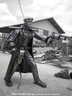 Hellboy, Kreatworks, The Steampunk & Recycled Metal Arts Recycled Metal Art, Scrap Metal Art, Arte Peculiar, Metal Tree Wall Art, Steel Art, Welding Art, Welding Ideas, Colorful Wall Art, Metal Crafts