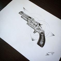 tattoo sketch/revolver/gun