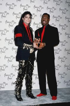 MJ and famous comedian Eddy Murphy at the 16th American Music Awards  Shrine Auditorium Los Angeles January 30 1989