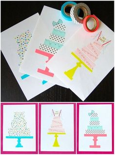 DIY Washi-Tape Crafts: Bday Cards or Prints to Frame, etc. Diy Washi Tape Birthday Cards, Washi Tape Diy, Masking Tape, Duct Tape, Diy Birthday, Cake Birthday, Birthday Invitations, Birthday Balloons, Birthday Ideas